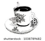 malaysian coffee in cup   Shutterstock . vector #1038789682