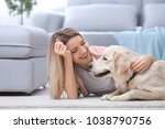 portrait of happy woman with... | Shutterstock . vector #1038790756