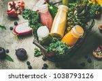 colorful smoothies in bottles...   Shutterstock . vector #1038793126