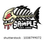 fish bone mascot for logo and t ... | Shutterstock .eps vector #1038799072