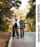 grandmother and grandson... | Shutterstock . vector #1038804652