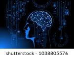 neural network. deep learning.... | Shutterstock .eps vector #1038805576