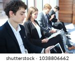 stressful people waiting for... | Shutterstock . vector #1038806662