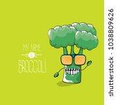 vector funny cartoon cute green ... | Shutterstock .eps vector #1038809626