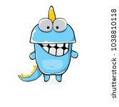 Vector Funny Cartoon Cute Blue...
