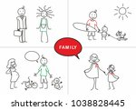 stick figure. happy family.... | Shutterstock .eps vector #1038828445