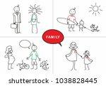 stick figure. happy family.... | Shutterstock .eps vector #1038828445