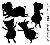 set of silhouettes of pigs on... | Shutterstock .eps vector #1038829126