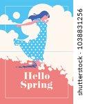 hello spring romantic poster.   Shutterstock .eps vector #1038831256