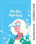 hello spring romantic poster. | Shutterstock .eps vector #1038831268