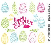 vector set of isolated easter... | Shutterstock .eps vector #1038835192