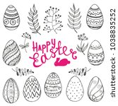 vector set of isolated easter... | Shutterstock .eps vector #1038835252