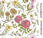 seamless pattern. roses with... | Shutterstock .eps vector #1038837376