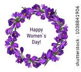 crocus crown  happy women s day | Shutterstock .eps vector #1038841906