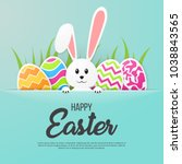 Stock vector happy easter greeting card vector illustration 1038843565