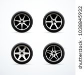 set of car wheel icons. vector... | Shutterstock .eps vector #1038845932