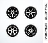 set of car wheel icons. vector... | Shutterstock .eps vector #1038845932