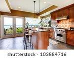 luxury kitchen interior with... | Shutterstock . vector #103884716