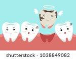 dental cartoon of missing tooth.... | Shutterstock .eps vector #1038849082