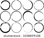 grunge vector circles. brush... | Shutterstock .eps vector #1038859108