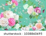 Stock vector beautiful seamless spring pattern with roses peony orchid and succulents 1038860695