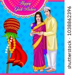 illustration of gudi padwa... | Shutterstock .eps vector #1038862396