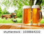 beer and grill time in garden  | Shutterstock . vector #1038864232