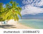 maldives paradise beach scene.... | Shutterstock . vector #1038866872