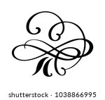 hand drawn flourish calligraphy ... | Shutterstock .eps vector #1038866995