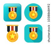 win medal icon   golden winner... | Shutterstock .eps vector #1038868492
