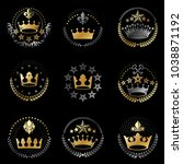 imperial crowns emblems set.... | Shutterstock .eps vector #1038871192