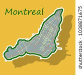 sticker map of montreal is a... | Shutterstock .eps vector #1038871675