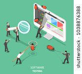 software testing flat isometric ... | Shutterstock .eps vector #1038876388