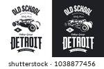 vintage hot rod vehicle black... | Shutterstock .eps vector #1038877456