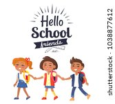 hello school friends sticker... | Shutterstock . vector #1038877612