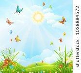 summer or spring landscape with ... | Shutterstock .eps vector #1038884572