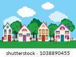 colorful facades of the old... | Shutterstock .eps vector #1038890455