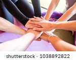 friendly sports team folded... | Shutterstock . vector #1038892822