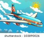 Cartoon passenger aircraft - stock photo