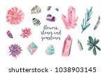 watercolor flowers  stones and... | Shutterstock . vector #1038903145