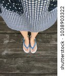 blue shoes isolated on wood... | Shutterstock . vector #1038903322