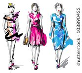 fashion models. sketch. | Shutterstock .eps vector #103890422