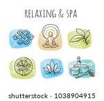 icon set of ayurveda spa... | Shutterstock .eps vector #1038904915