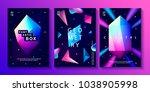 set of abstract trendy cosmic... | Shutterstock . vector #1038905998