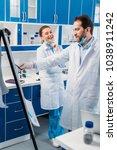 scientist in white coats near... | Shutterstock . vector #1038911242