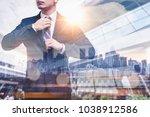 the double exposure image of...   Shutterstock . vector #1038912586