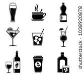 beverages icons set | Shutterstock .eps vector #1038920878