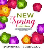 spring banner with paper... | Shutterstock .eps vector #1038923272