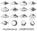 alien spaceship  spacecrafts... | Shutterstock .eps vector #1038925405