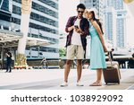 couple asian travelers are... | Shutterstock . vector #1038929092